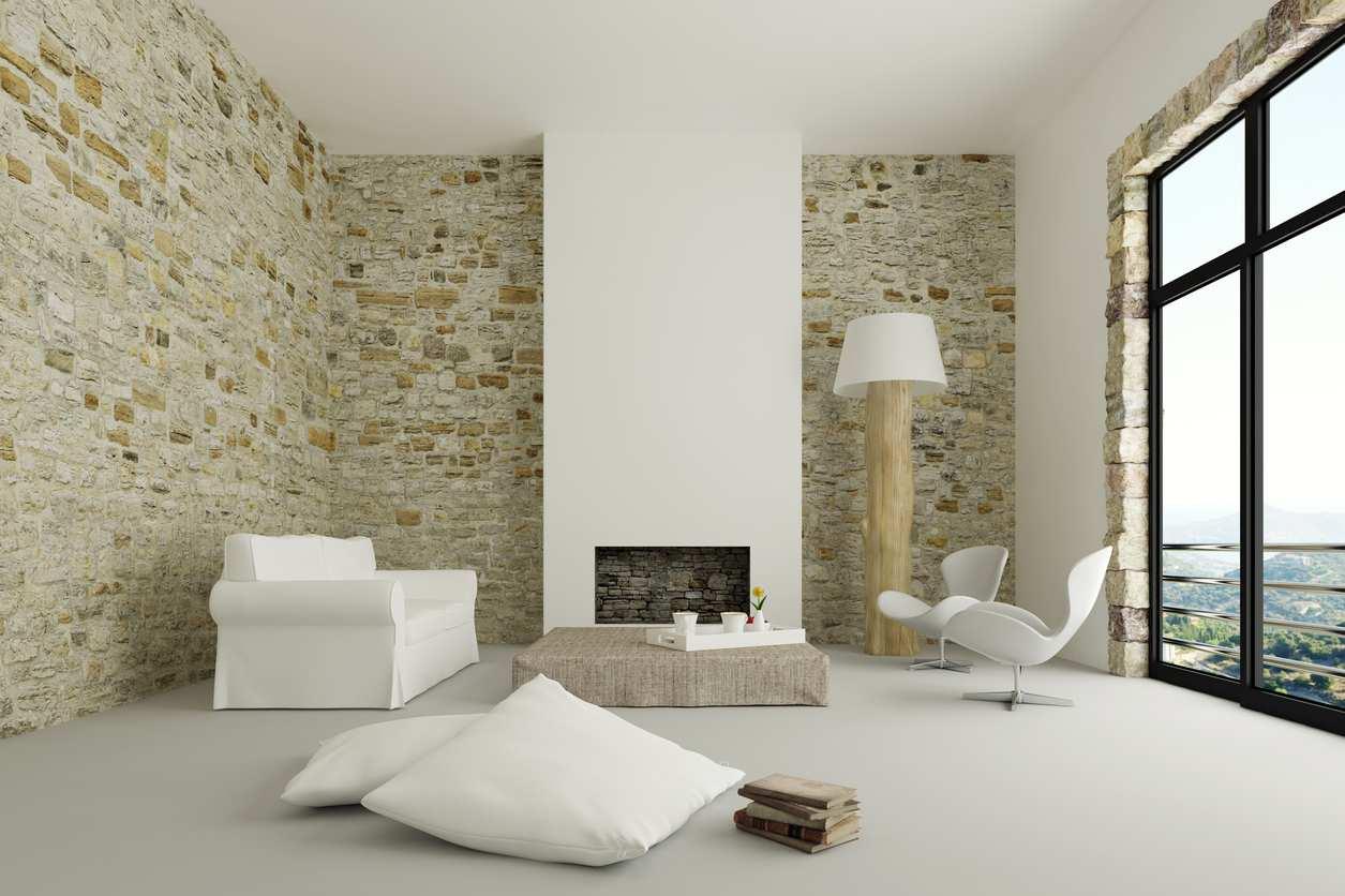 Habiller un mur du salon grâce aux plaquettes de parement