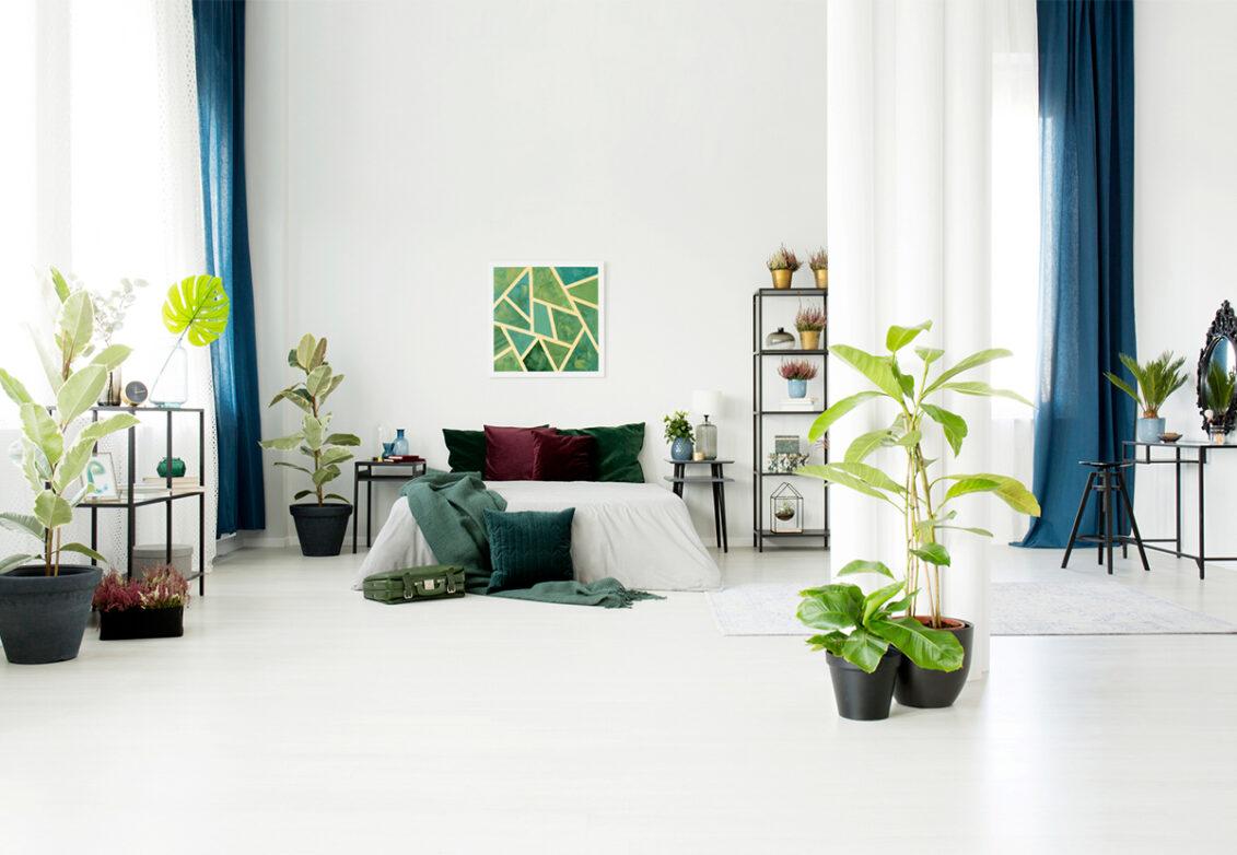 Des plantes artificielles dans une chambre bien décorée