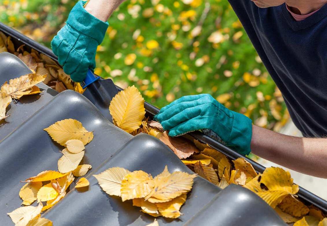 Un homme qui enlève les feuilles mortes de sa gouttière