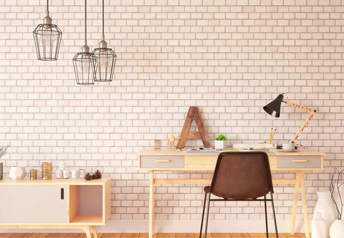 Décoration d'un bureau avec un papier peint panoramique brique blanche