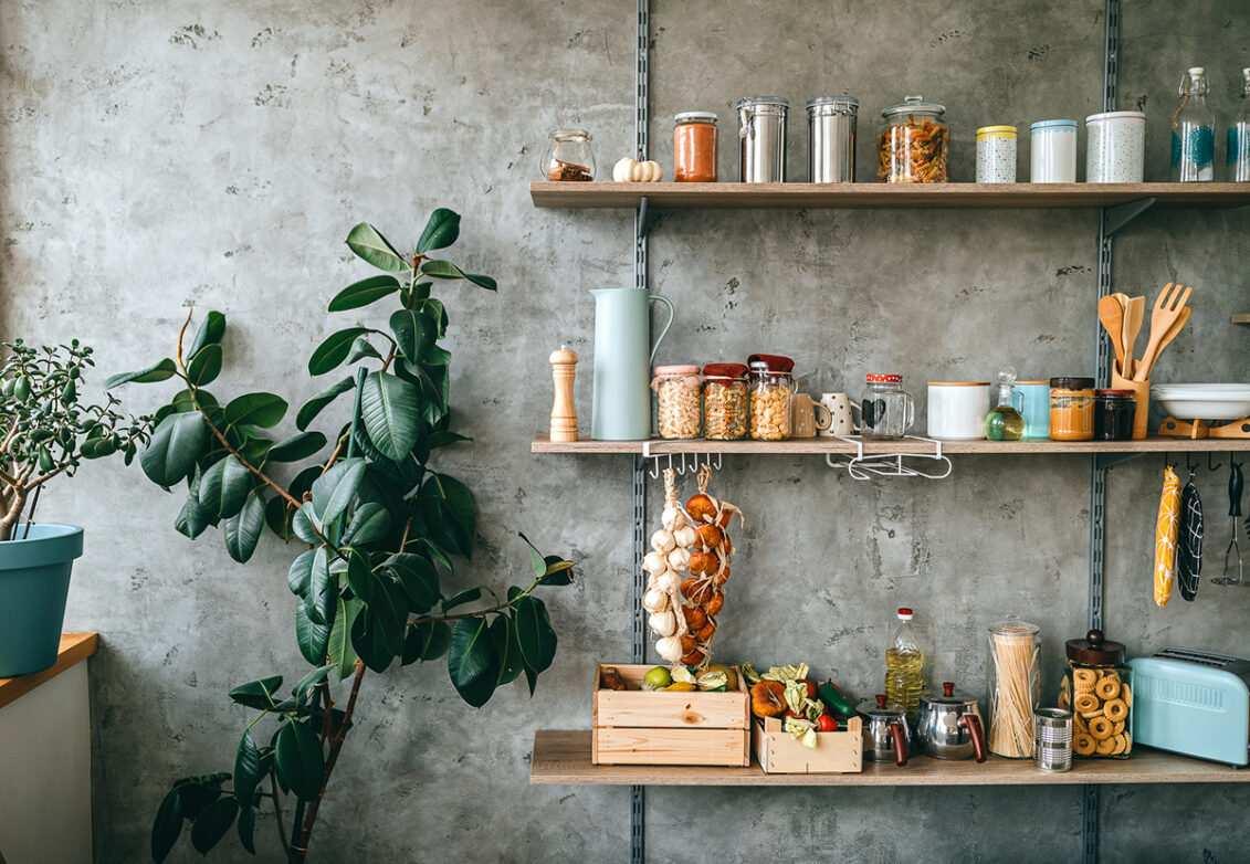 Shelfie, étagère murale dans une cuisine