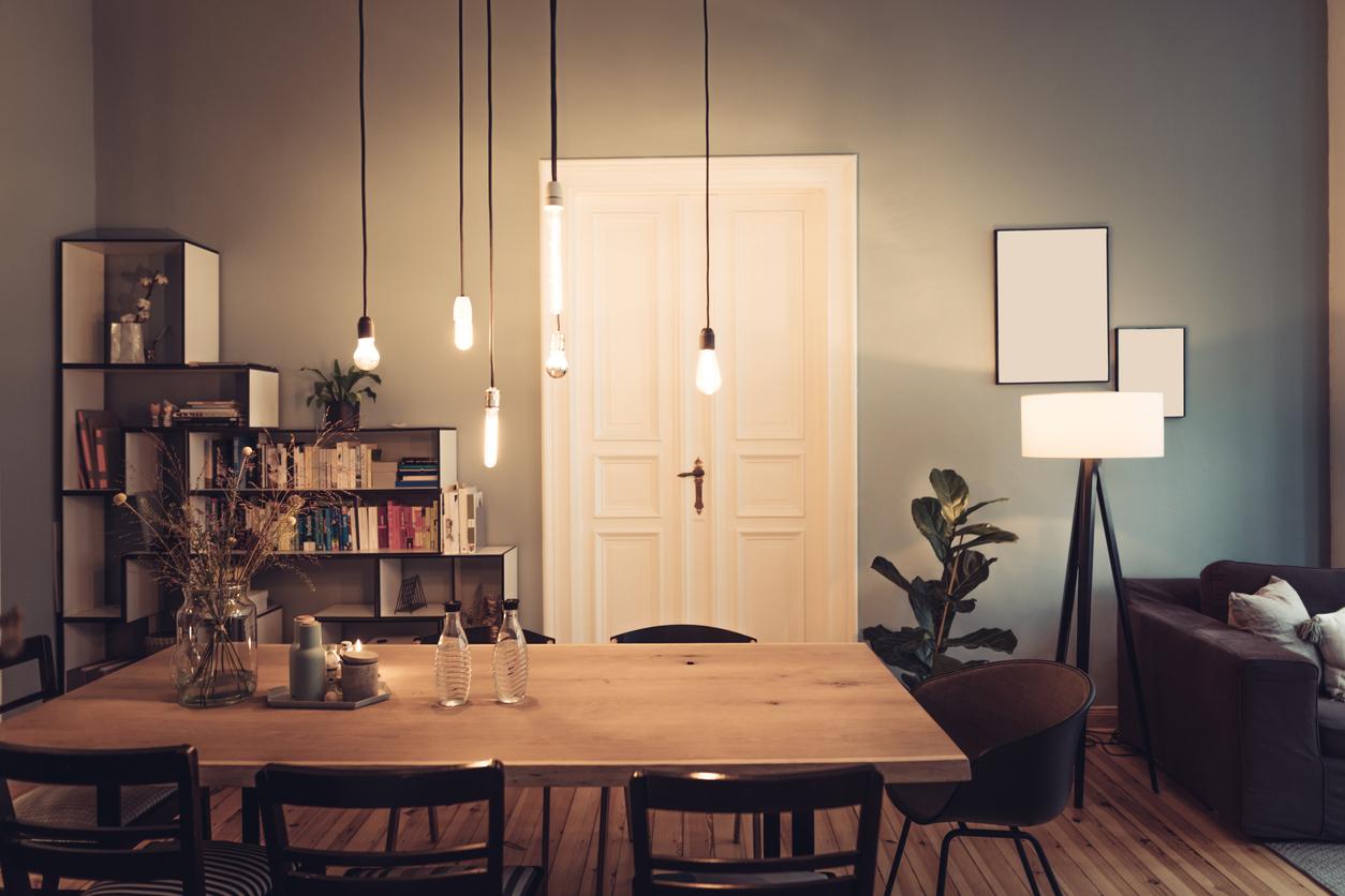 Salon salle à manger éclairage tamisé