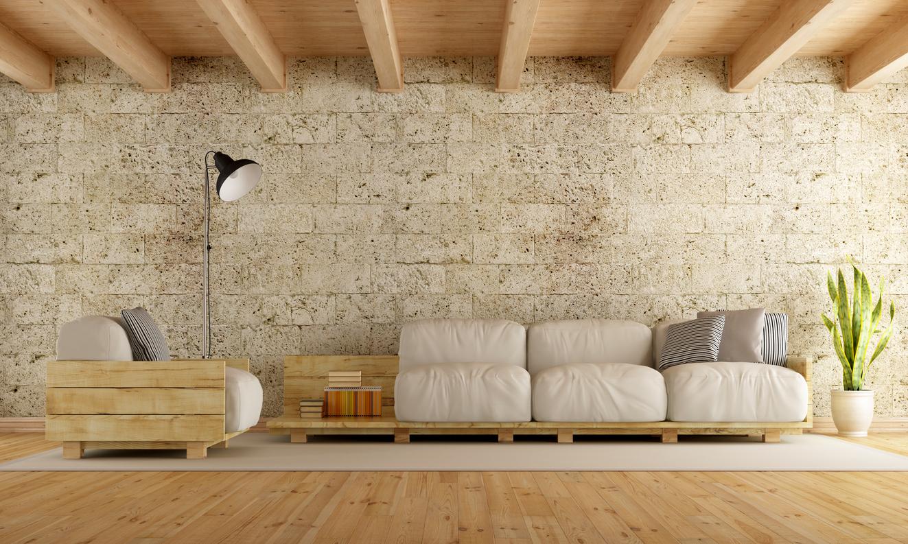 Habillage De Mur Intérieur habiller un mur du salon grâce aux plaquettes de parement